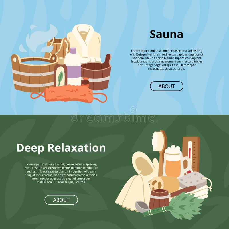 Therapie van de sauna ontspannen de vector houten heat spa ontspanning en de hete achtergrond van de stoomgezondheidszorg de emme stock illustratie