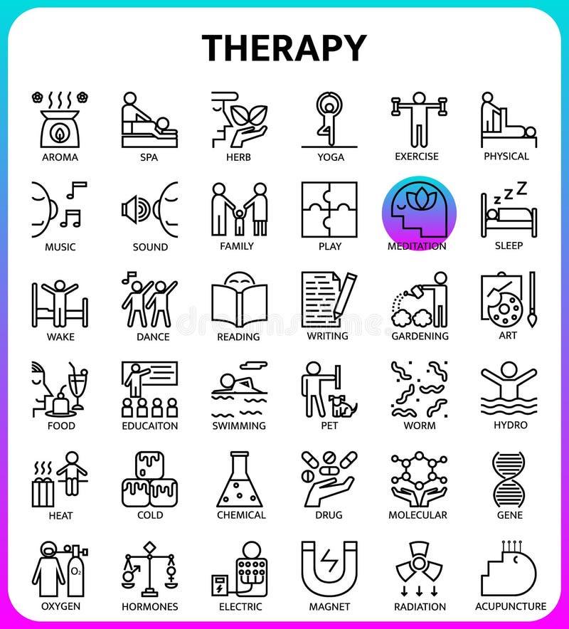 Therapieikonensatz basiert auf 64px Gitter, Entwurfsikone lizenzfreie abbildung