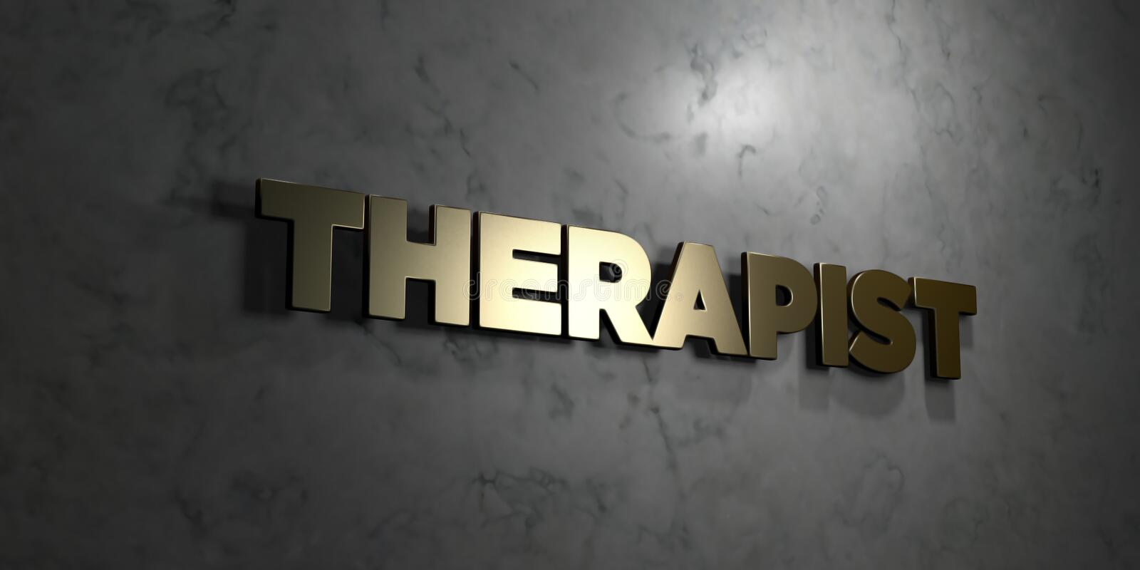 Therapist - Gold text on black background - 3D rendered royalty free stock picture. This image can be used for an online website banner ad or a print postcard stock illustration