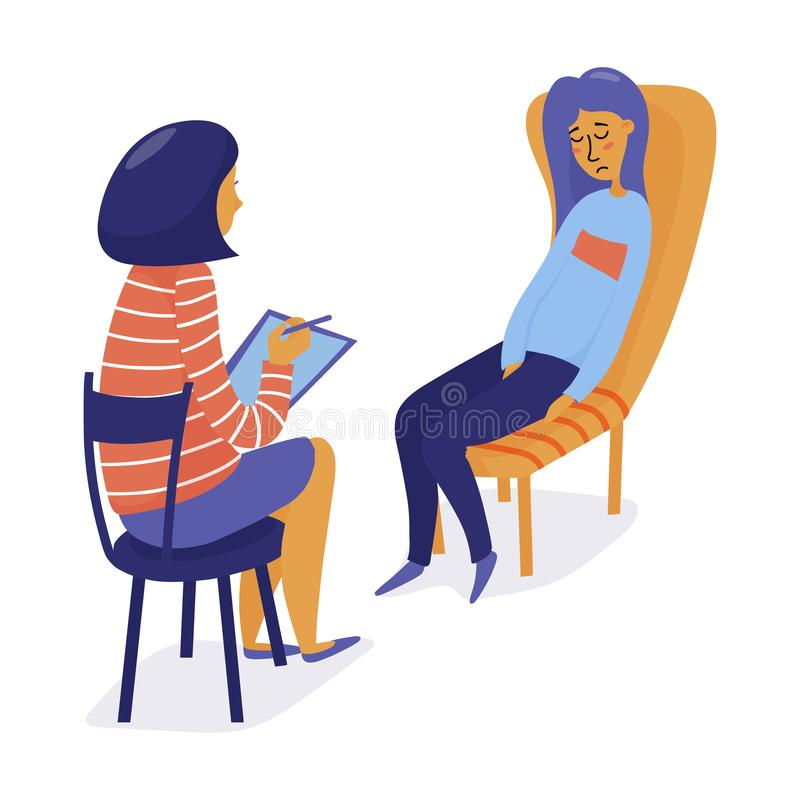 Therapist, psychologist consulting depressed woman royalty free illustration