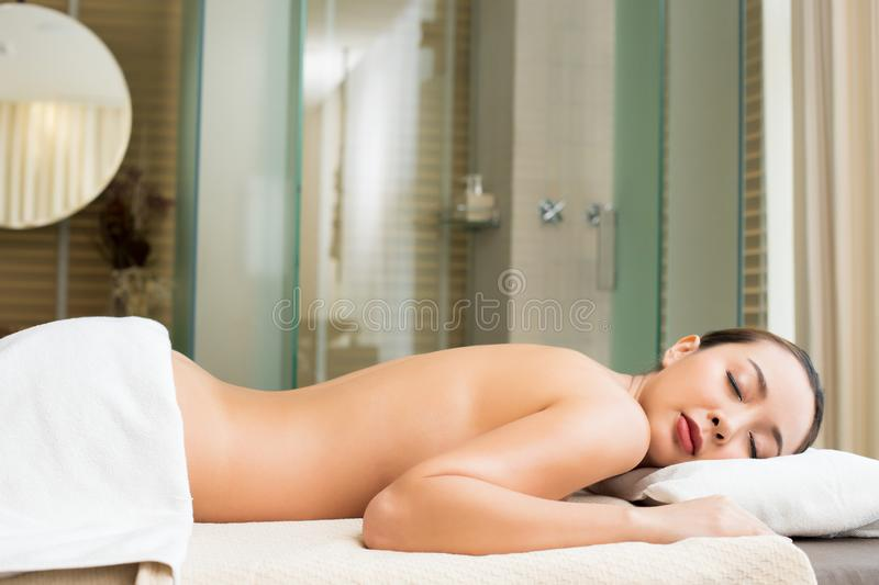 Therapist Spa body massage woman hands treatment royalty free stock images