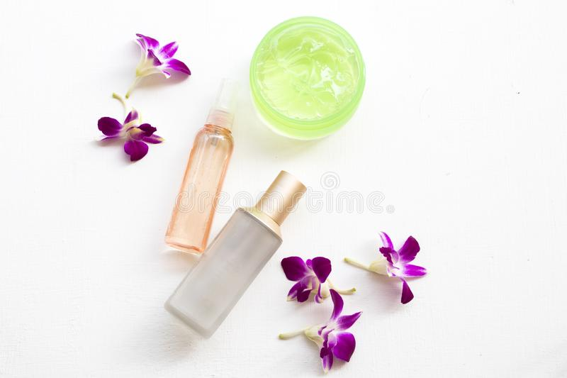 The therapy first serum toners ,water spray ,soothing gel health care beauty for skin face royalty free stock image
