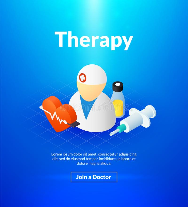 Therapy poster of isometric color design vector illustration