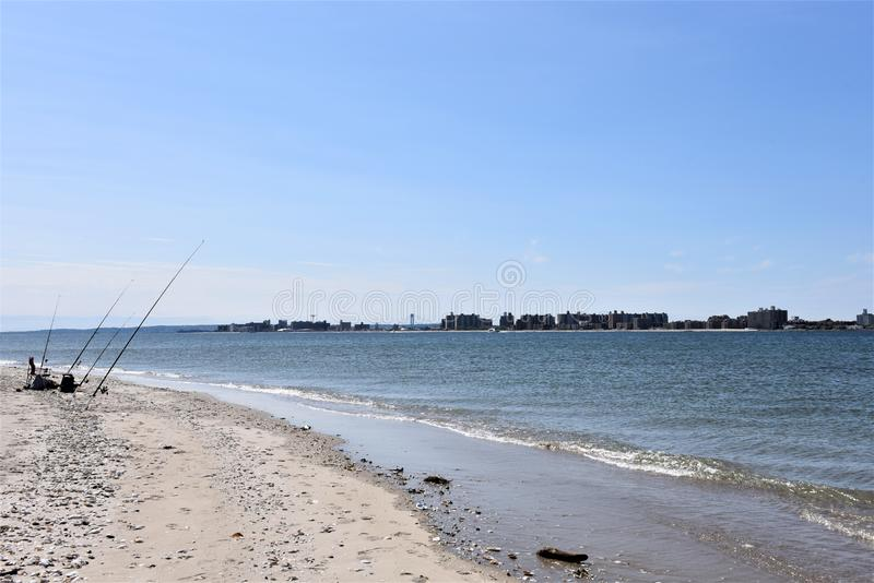 New york fishing in front of coney island. There is Breeze Point offshore fishing right in front of Coney Island in New York view far ahead . For anglers is royalty free stock photography