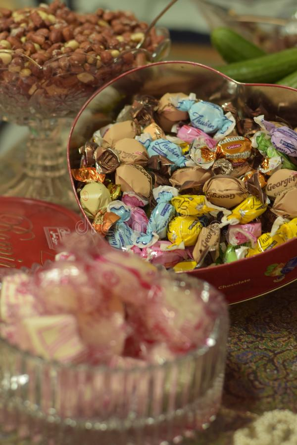 Bunch of Toffees and other junk foods royalty free stock image