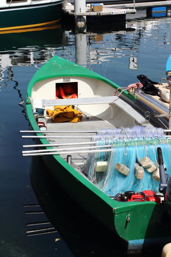 Fishing boat with nets in french Port de Rives, Thonon-les-Bains stock photo