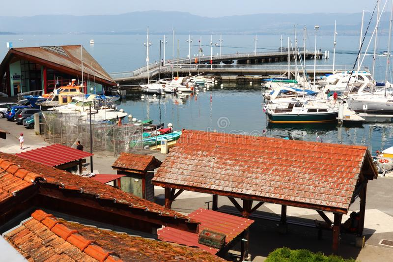 French fishery Port de Rives, Thonon-les-Bains royalty free stock image