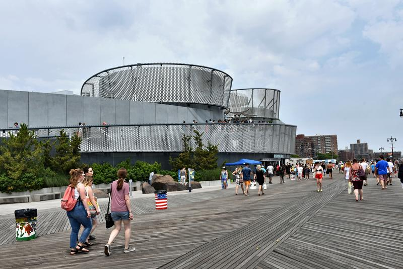 Sharks exibition building coney island new york. There are first visitors in new Sharks Exibition Building , which started its activity in summer 2018 season on stock photo