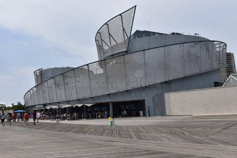 Sharks exibition building coney island new york. There are first visitors in new Sharks Exibition Building , which started its activity in summer 2018 season on stock photos