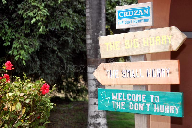 St croix us virgin islands cruzan rum distillery signs. There is funny signs of famous Cruzan rum distillery, which located in Frederiksted , St Croix , US royalty free stock images