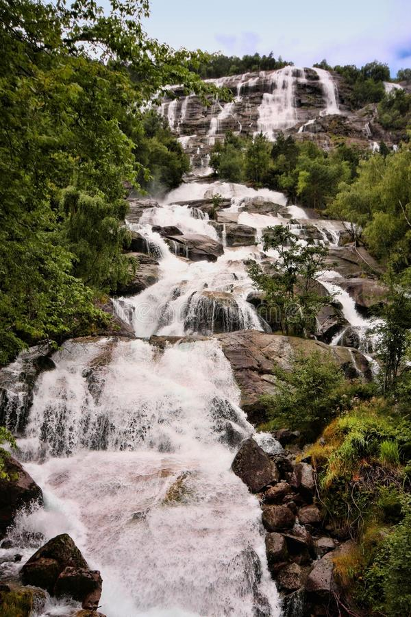 There are hundreds of beautiful waterfalls in Scandinavia royalty free stock photography