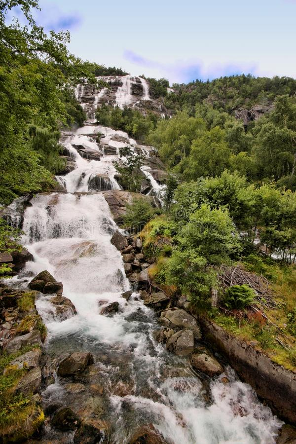 There are hundreds of beautiful waterfalls in Scandinavia stock photography