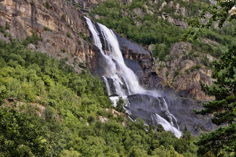 There are hundreds of beautiful waterfalls in Scandinavia stock image