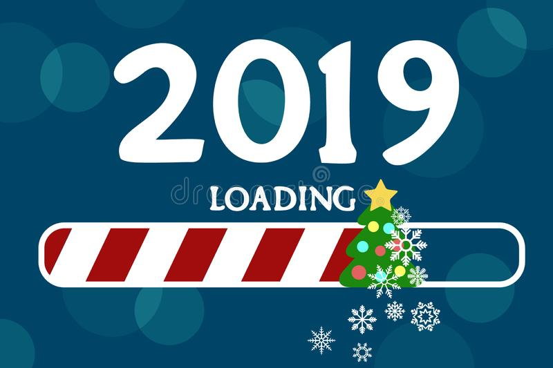 There is a loading of new 2019 with a Christmas tree and snowflakes. There is a loading of new 2019 with a Christmas tree and snowflakes on a blue background royalty free illustration