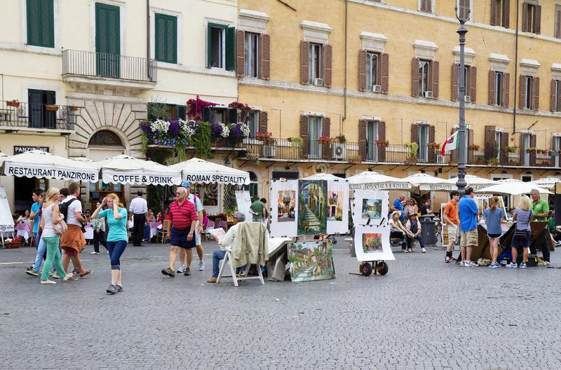 Rome, Italy, exhibition of paintings on Navona square. royalty free stock photos