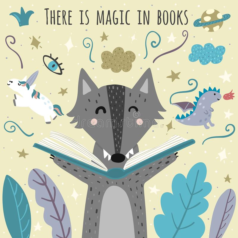 There is magic in books awesome card with cute wolf. Fantasy creatures flying out of an open book vector illustration