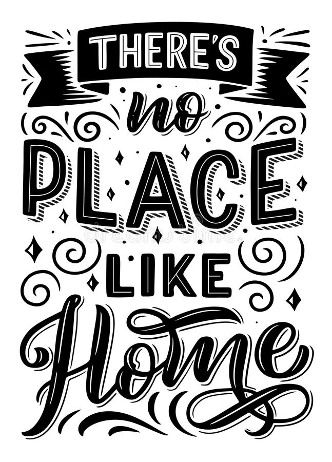 There is no place like home quote. Font design and ribbon, swirls and curls with stars. Quotation phrase monochrome vector. Expression or sentence in capital vector illustration