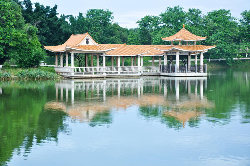 Pavilion and lake. There is a pavilion on lake stock photos