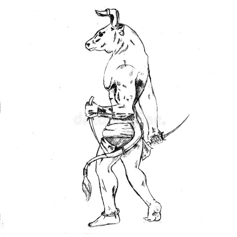 Nice sketch of the minotaur. There is a picture of a minotaur. Nice sketch in jpg format royalty free illustration