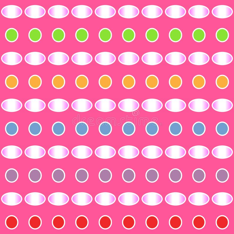 Abstract colorful gradient pattern of circle and ellipse shapes on pink background. Vector illustration. royalty free illustration