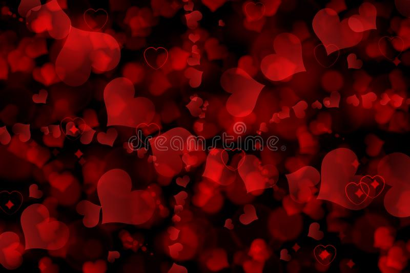 There are red hearts on the black background. Happy Valentine`s Day. There are red hearts on the black background. Happy Valentine`s Day royalty free stock images