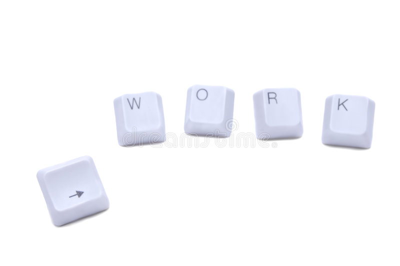 There`s a job for you!. Computer keyboard buttons work and arrow isolated on white royalty free stock images