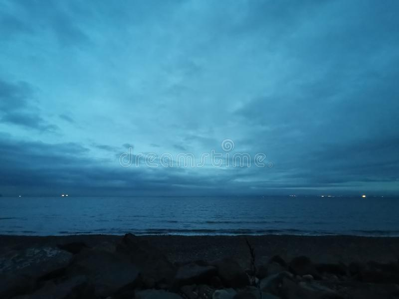 There  a sea  touch the sky. Horizon stock photo