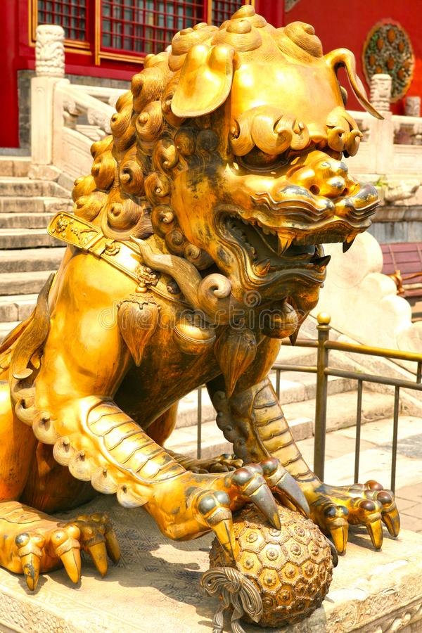 Bronze lion guarding the entrance to the inner palace of the Forbidden City. Beijing stock images