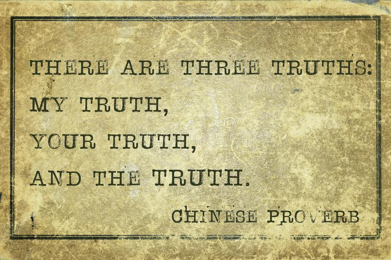 Three truth print. There are three truth - ancient Chinese proverb printed on grunge vintage cardboard royalty free illustration