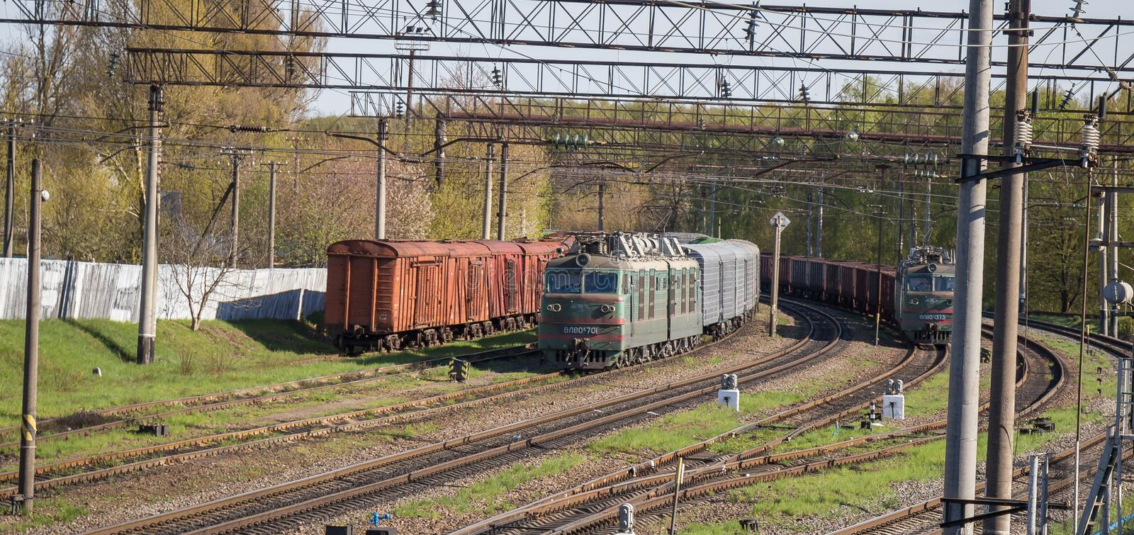 Old trains in Ukraine between Ternopil and Kyev stock photography