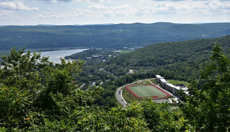Upstate new york stadium mountains. There is upstate of New York city ,about forty minutes from famous Manhattan and everybody can feels fresh air and energy of royalty free stock image