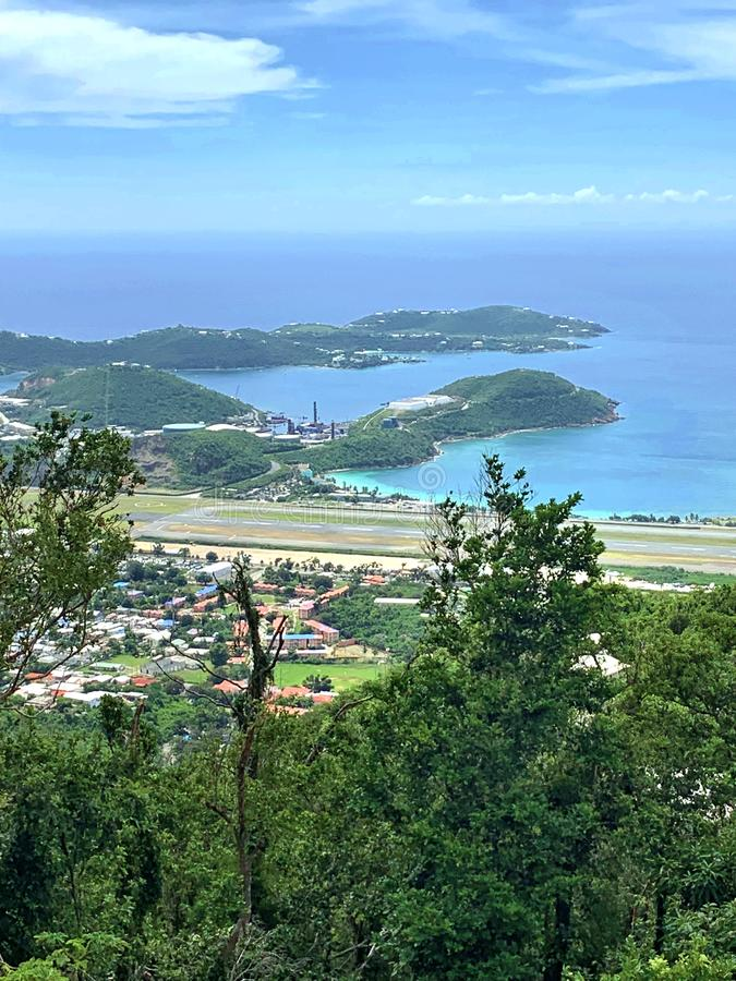 St thomas us virgin islands  runaway area beneath. There is view to aircrafts runaway area  from the top of the mountain in St Thomas  US Virgin Islands . It stock images