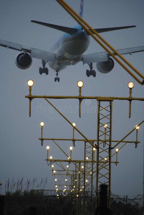 Airplane landing at Barcelona Airport stock photos
