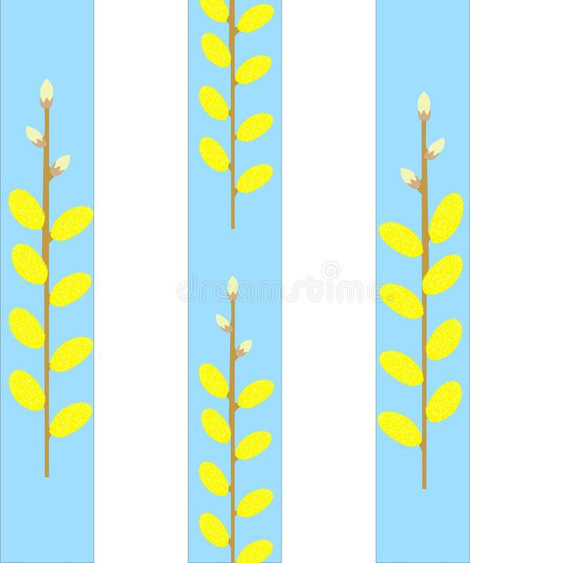 There are wonderful willow twigs.The background is made of light blue and white stripes. royalty free illustration
