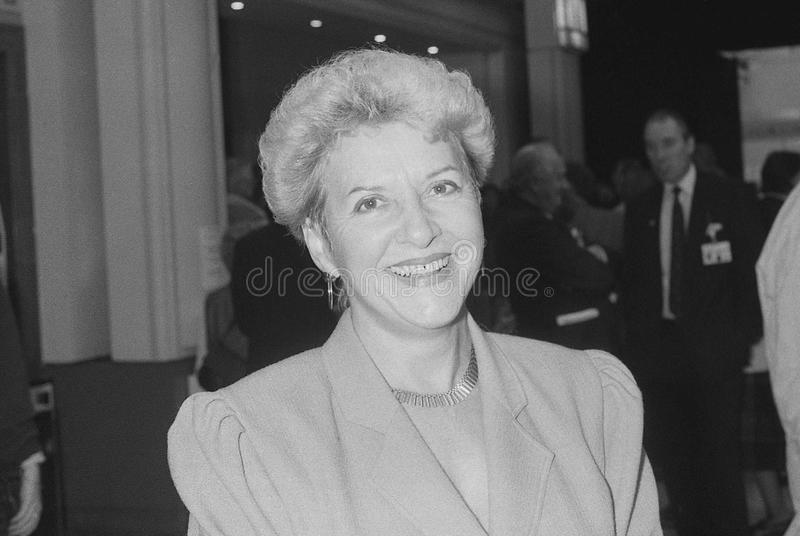 Theresa Gorman. Conservative party Member of Parliament for Billericay, visits the party conference in Blackpool on October 10, 1989 royalty free stock images