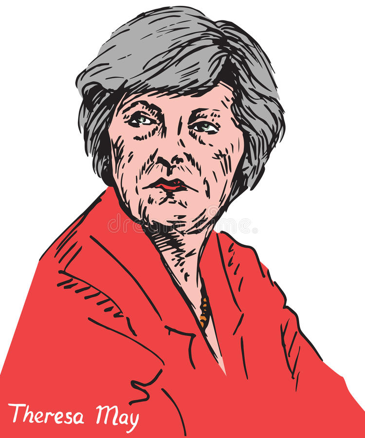 Theresa Mary May, député britannique, premier ministre du Royaume-Uni et chef du Parti conservateur illustration stock