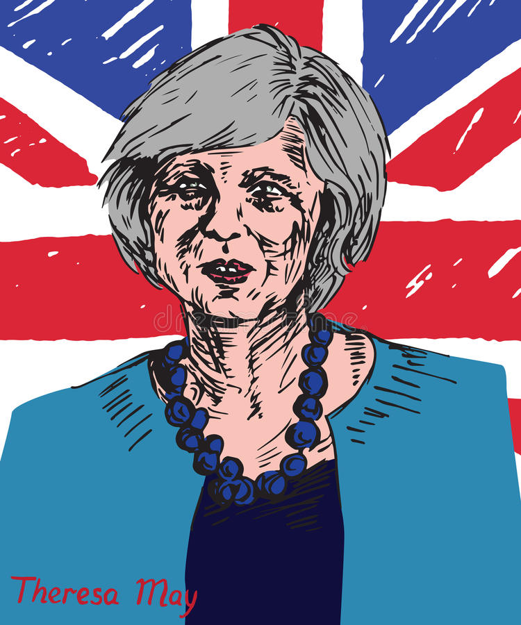 Theresa Mary May, député britannique, premier ministre du Royaume-Uni et chef du Parti conservateur illustration de vecteur