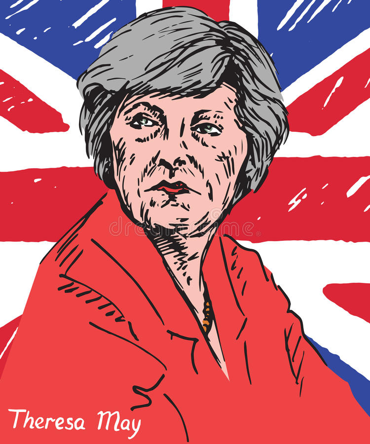 Theresa Mary May, MP, Prime Minister of the United Kingdom and Leader of the Conservative Party. Drawn by hand 2d illustration in pop art style, flag background