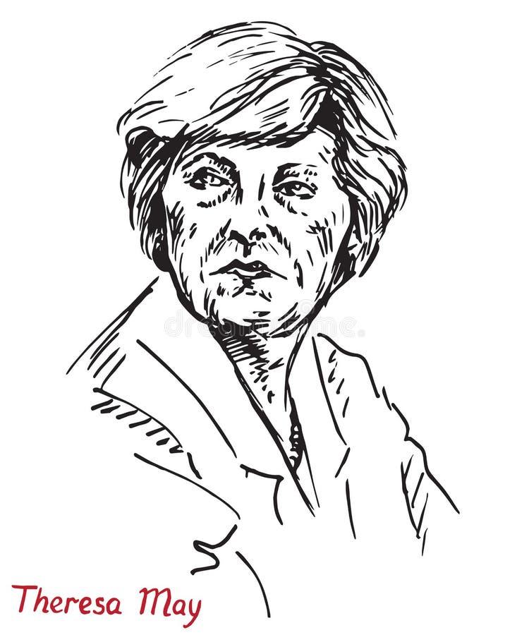 Theresa Mary May, P.M., primer ministro del Reino Unido y líder del partido conservador libre illustration