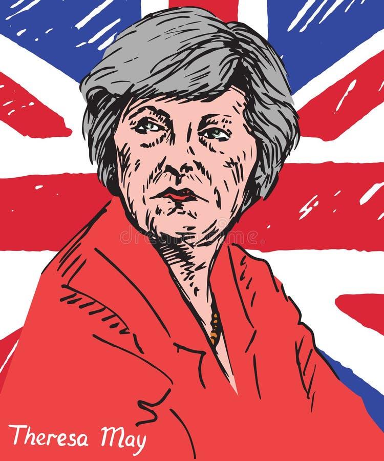 Theresa Mary May, P.M., primer ministro del Reino Unido y líder del partido conservador stock de ilustración