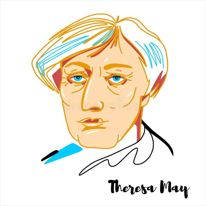 Theresa May Portrait royalty illustrazione gratis