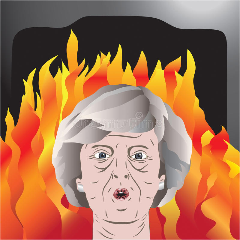 Theresa May sob o fogo imagens de stock royalty free