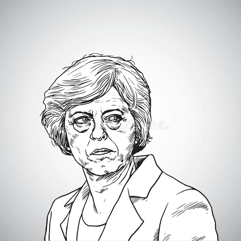 Theresa May Vektor-Illustrations-Porträt des Premierministers von Vereinigtem Königreich 21. April 2018 lizenzfreie abbildung
