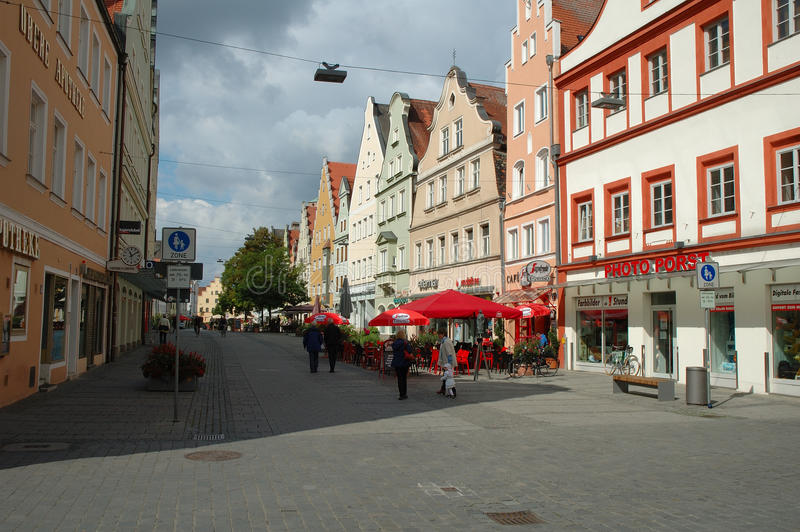 Theresienstrasse street in Ingolstadt in Germany. Ingolstadt, Germany - August 24, 2014: Theresienstrasse street in Ingolstadt in Germany. Unidentified people royalty free stock photos