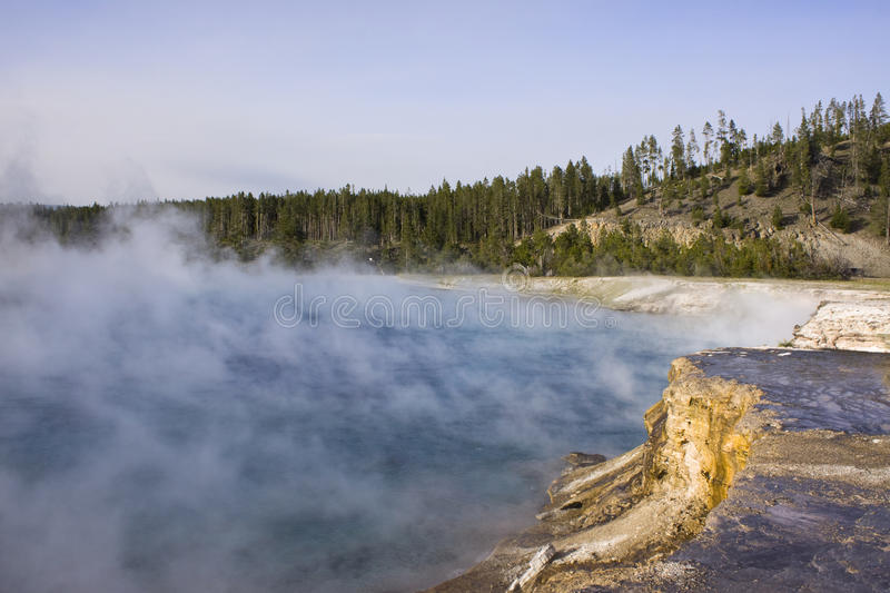 Thermal activity in Yellowstone. The Grand Prismatic Spring in Yellowstone National Park is the largest hot spring in the United States, and the third largest in royalty free stock photos