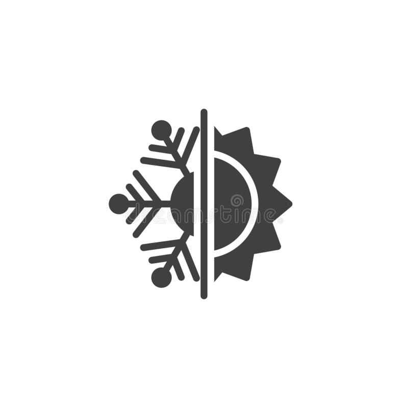 Thermal and cold resistant vector icon. Snowflake and sun filled flat sign for mobile concept and web design. Heat and frost insulation glyph icon. Symbol royalty free illustration