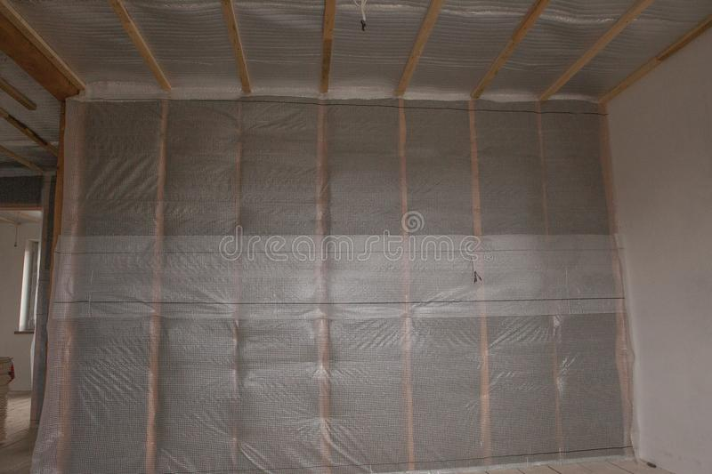 Thermal and hidro insulation wall insulation construction new residential home royalty free stock photography