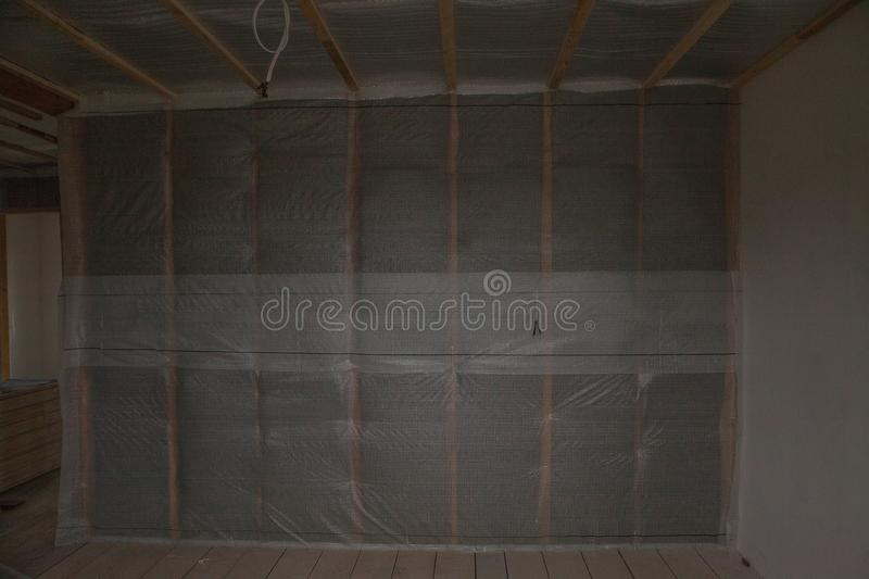 Thermal and hidro insulation wall insulation construction new residential home stock images