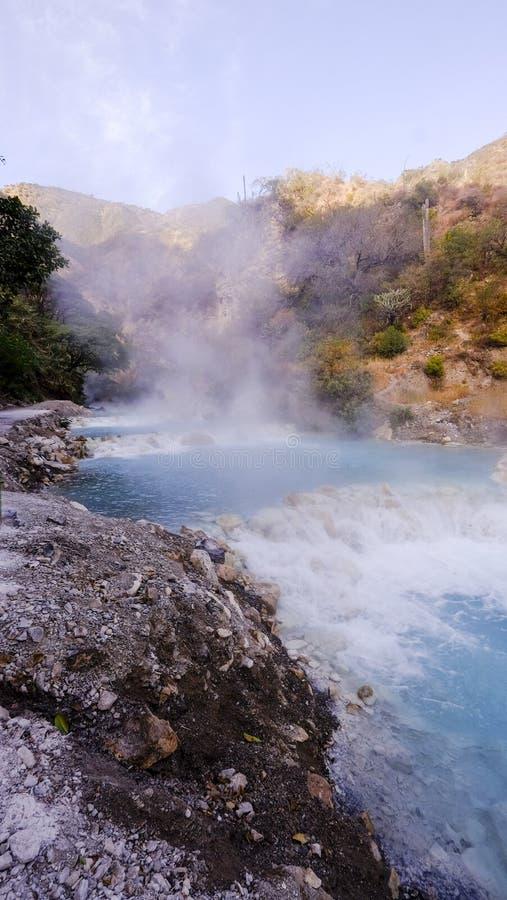 Thermal hot springs Grutas de Tolantongo , in Mexico state stock image