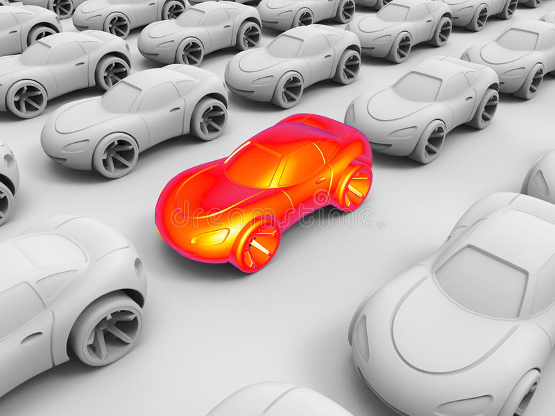 Thermal image of a car stuck in traffic. 3D render illustration of a thermal image of a car stuck in traffic. The composition is on a white background with vector illustration